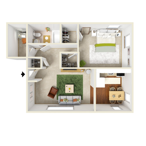 presidential estates one bedroom floor plan with den