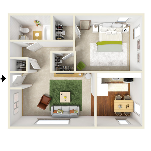 presidential estates one bedroom floor plan